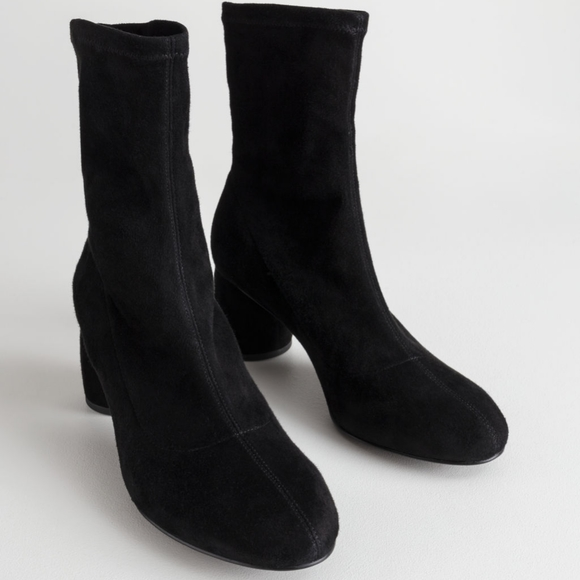 Other Stories Black Suede Sock Boots